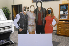 Cardboard cutout standee for photo