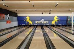 Mount Mercy wall decal at bowling alley