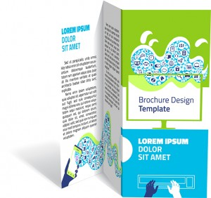 Brochure, booklet z-fold layout. Editable design template. Two sides. EPS10 vector, transparencies used.