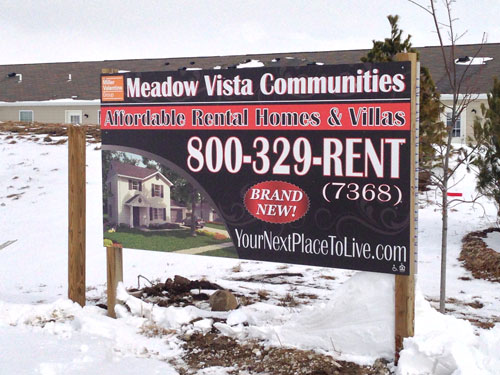 Meadow Vista Communities construction sign