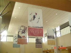 Environmental Graphic Design example, ceiling banners
